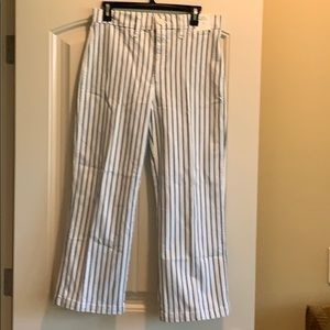 New with tag! J Crew striped slim wide leg pant